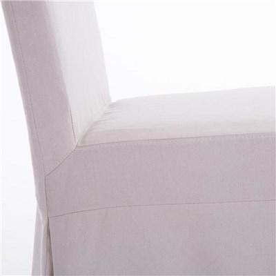 Lote de 4 Sillas de Comedor CASPIO, en Tela Crema, Estructura y patas de madera