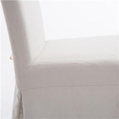 Lote de 6 Sillas de Comedor CASPIO, en Tela Blanca, Estructura y patas de madera