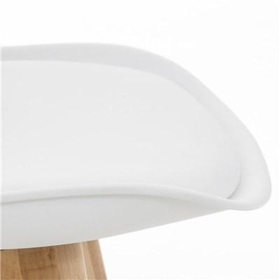 Lote de 4 Sillas de Comedor LOREN, Estructura en Plástico y Piel Blanca, Patas Claras