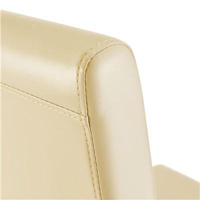 DEMO# Lote 4 Sillas de Comedor LITAU, precioso diseño, piel crema patas brillantes