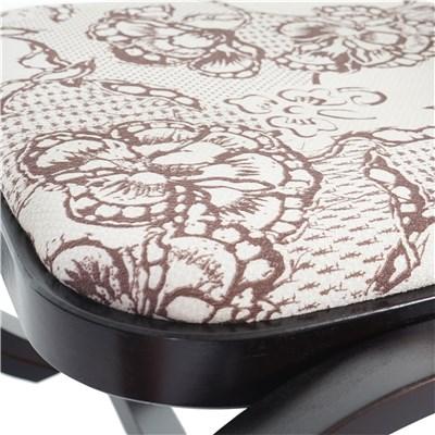 Mecedora Silla de madera M41, color nogal, tapizado crema motivos en marrón