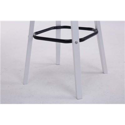 Taburete con Respaldo ROXIO, Estructura de Madera, en Piel color Blanco y Patas Blancas