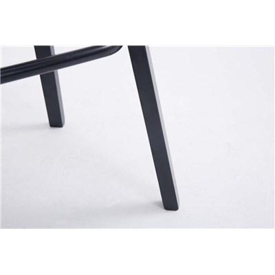 Taburete con Respaldo ROXIO, Estructura de Madera, en Piel color Negro y Patas Negras
