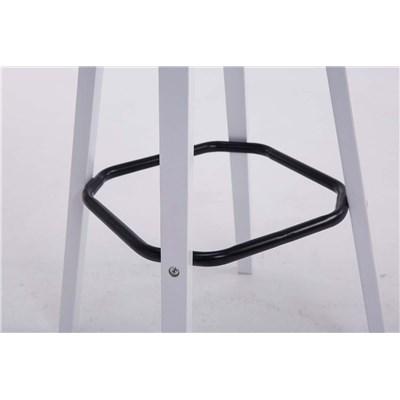 Taburete con Respaldo ROXIO TELA, Estructura de Madera, en color Marrón Oscuro y Patas Blancas