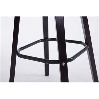 Taburete con Respaldo ROXIO TELA, Estructura de Madera, en color Marrón Oscuro y Patas Oscuras