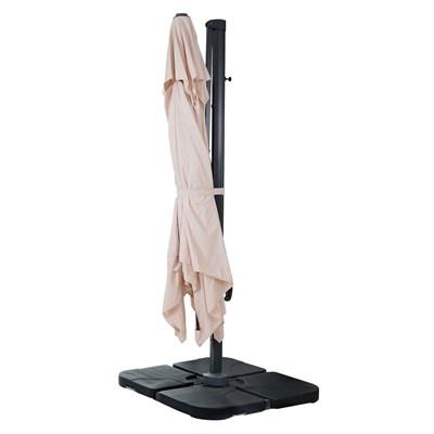 Sombrilla / Parasol POSEIDON CON SOPORTE, de 3 x 3 metros, 100% Ajustable, Cruz de suelo Incluida, en Crema