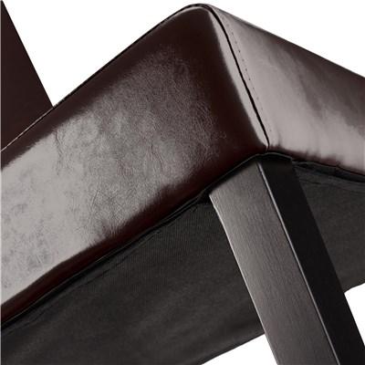 DEMO# Lote 4 Sillas de Comedor LITAU PIEL GENUINA, precioso diseño, Marrón, patas oscuras