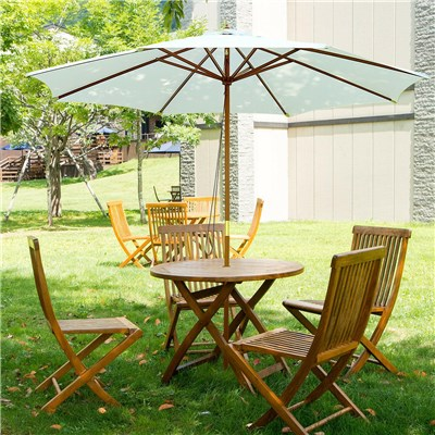Sombrilla ENAR 3 m, Estructura Madera, Resistente al Agua y Sol, Color Crema