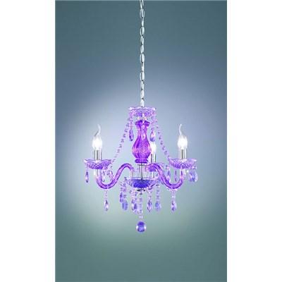 Lámpara de Techo tipo ARAÑA, con 3 puntos de luz, fabricada en vidrio acrílico color morado