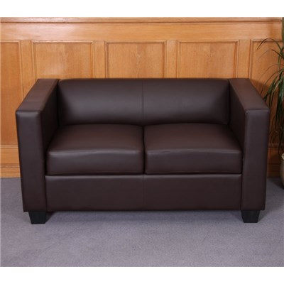 Sofa de 2 plazas LILLE, exclusivo, gran confort, en polipiél, color café