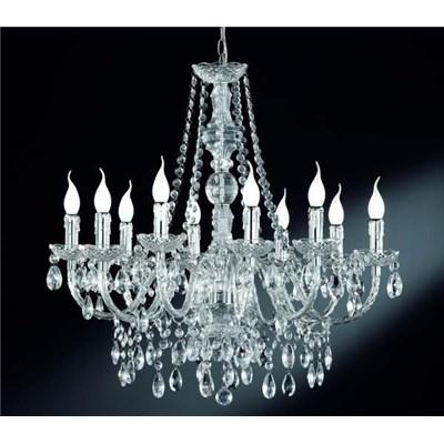 Lámpara de Araña, para 10 bombillas, fabricada en vidrio acrílico transparente