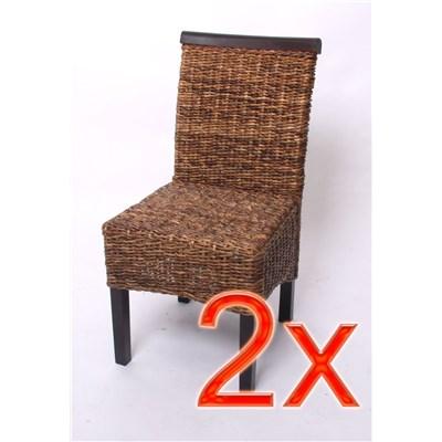 Lote 2 Sillas de comedor o Jardín M45 en madera mimbre marrón y patas oscuras