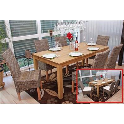 Lote 2 Sillas de comedor o Jardín M44 en madera y mimbre (cojines incluidos)