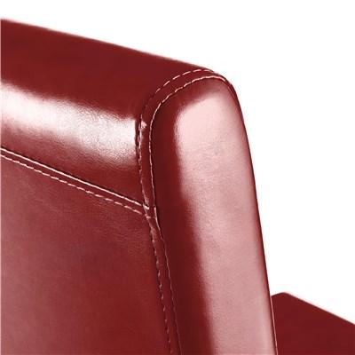 Lote 4 Sillas de Comedor LITAU PIEL REAL, precioso diseño, Rojo y patas oscuras