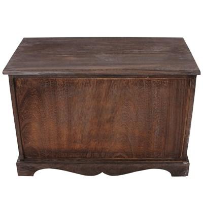 Perchero mas mesa aparador con 2 cestas 42x62x33cm, aspecto desgastado vintage marrón
