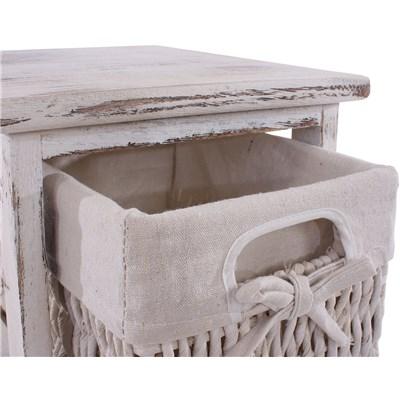 Estante cómoda con 5 cajones 90x25x28cm, acabado antiguo blanco