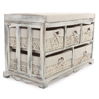 Banco de Diseño con 5 cajones, 77x45x36cm, Estilo Vingate Blanco