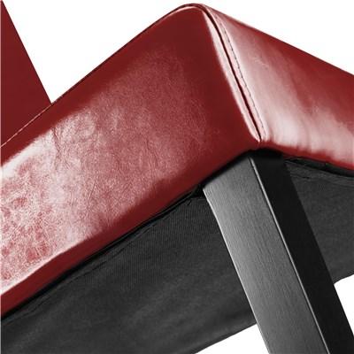 Lote 6 Sillas de Comedor LITAU PIEL REAL, precioso diseño, Rojas y patas Oscuras