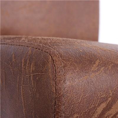 Bonito Conjunto de 4 Sillas de Comedor LITAU, únicas, Piel color Marrón, patas oscuras