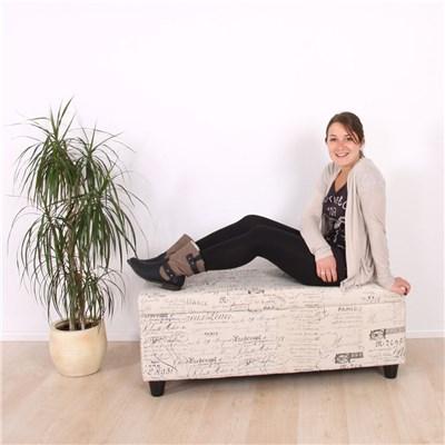 Banco con almacenaje KIEN en tela, 112x45x45cm, Estampado Letras Gris