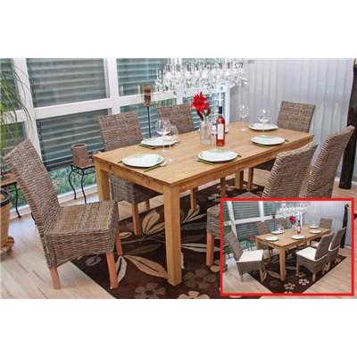 Lote 4 Sillas de comedor o Jardín M44 en madera y mimbre (cojines incluidos)