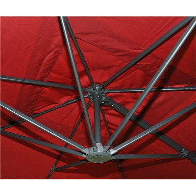 Sombrilla Aluminio IDRA, de 3 x 4 metros, Rojo Burdeos, Ajustable, Cruz de suelo Incluida