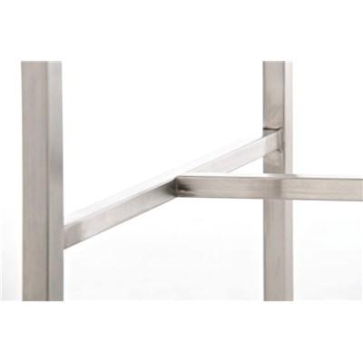 Taburete de Bar LINCON, estructura de acero inoxidable, muy resistente, en piel marrón