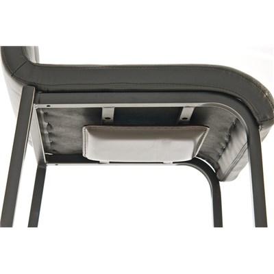 Taburete de Cocina o Bar MARTINA, estructura metálica en negro, acolchado tapizado en piel negro