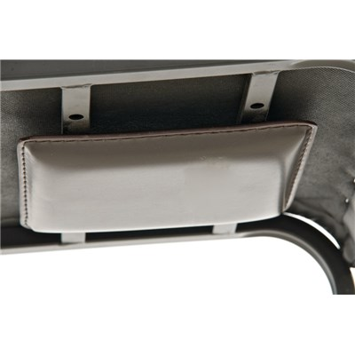 Taburete de Cocina o Bar MARTINA, estructura metálica en negro, acolchado tapizado en piel gris