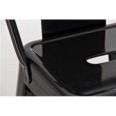 Taburete de Diseño MEISON, en Color Negro, Fabricado en Metal, Con Respaldo