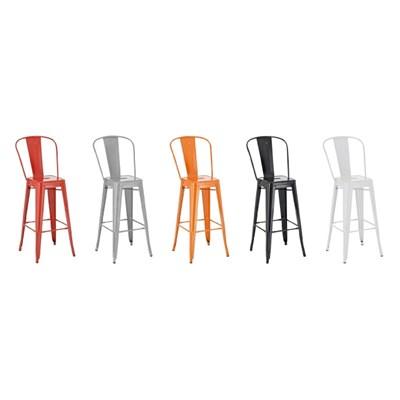 Taburete para Bar o Cocina ADRI, muy resistente, modelo apilable, gran respaldo, en metal color naranja