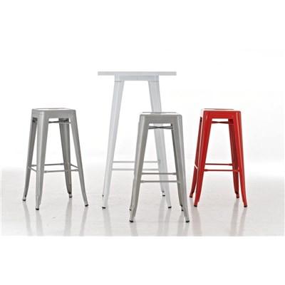 Taburete para Bar o Cocina CELIA, muy resistente, modelo apilable, en metal color blanco