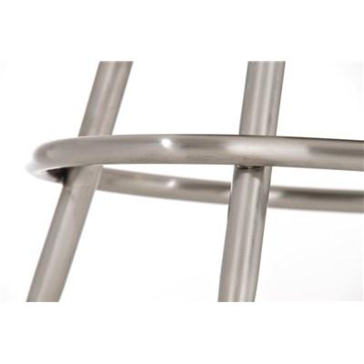 Taburete de Bar CARLOTA 80cm, en acero inoxidable, gran asiento acolchado, en piel color negro