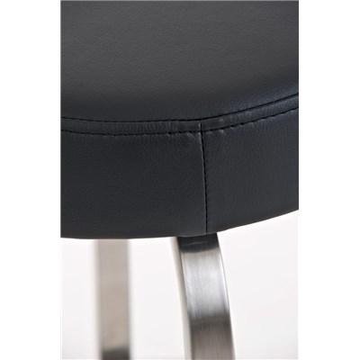 Taburete para Bar KARMON, Estructura en Acero Inoxidable, gran Calidad, tapizado en piel negro