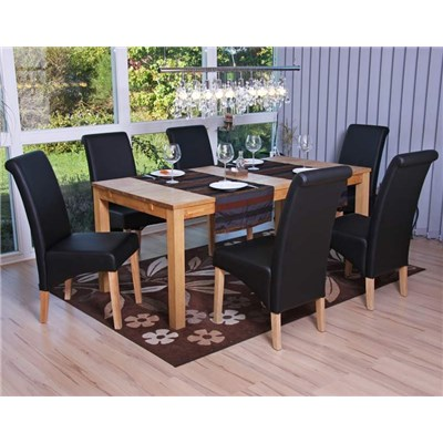 Lote 2 Sillas de Comedor TURIN, Gran estilo y calidad, tapizadas en Piel negra y patas madera claras
