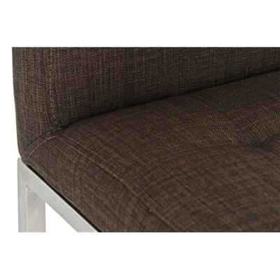Taburete de Bar INES PRO Tela, estructura en acero, gran acolchado, tapizado en tela marrón