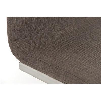 Taburete de Diseño Para Barra NEW YORK, En Tela Gris y Estructura en Acero Inoxidable, Gran Diseño