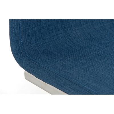 Taburete de Diseño Para Barra NEW YORK, En Tela Azul y Estructura en Acero Inoxidable, Gran Diseño