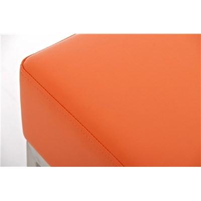 Banco de 2 plazas MARA, En Piel Naranja y Estructura de Acero Inoxidable, 80 x 40 cm
