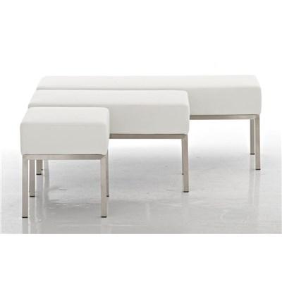 Banco de 3 plazas MARA, En Piel Blanca y Estructura de Acero Inoxidable, 120x 40 cm