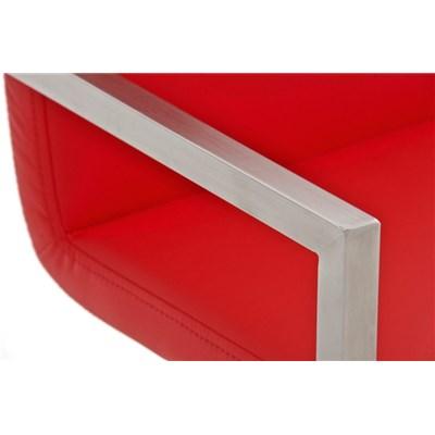 Taburete de Diseño ISAIA, En Piel Color Rojo y Estructura de Acero Inoxidable, Apoyabrazos Integrados