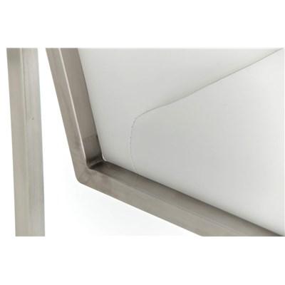 Taburete Para Barra MALAK, En Piel Blanca y Estructura de Acero Inoxidable, Gran Calidad