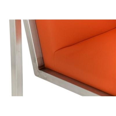 Taburete Para Barra MALAK, En Piel naranja y Estructura de Acero Inoxidable, Gran Calidad