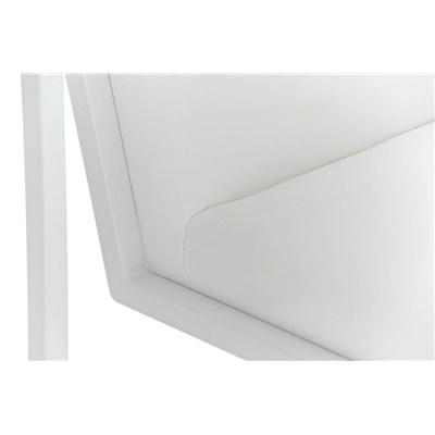 Taburete Para Barra MALAK, En Piel Blanca y Estructura Metálica en Blanco, Gran Calidad