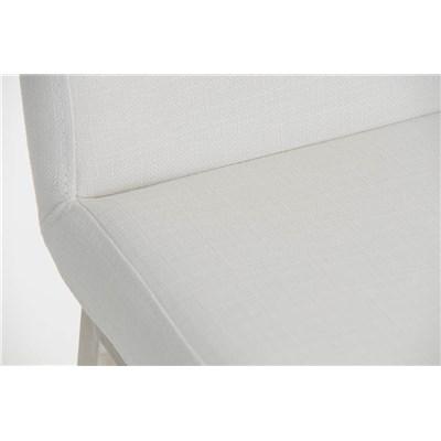 Taburete de Bar VARGAS, En Tela Blanca y Estructura en Acero Inoxidable, Resistente y de Calidad