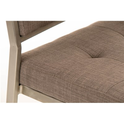 Taburete de Bar o Cocina ELENA PLUS, estructura en acero inoxidable, asiento acolchado en tela gris