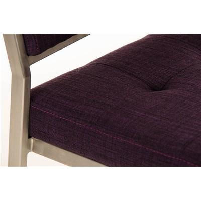 Taburete de Bar o Cocina ELENA PLUS, estructura en acero inoxidable, asiento acolchado en tela morado