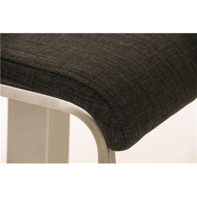 Taburete de Bar LAMA 78 Tela, estructura en acero, diseño ergonómico, en tejido color gris oscuro