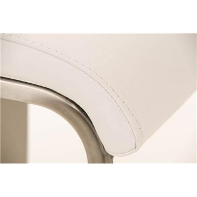 Taburete de Bar LAMA 85, estructura en acero, diseño ergonómico, en piel color blanco