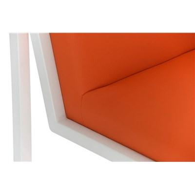 Taburete Para Barra MALAK, En Piel Naranja y Estructura Metálica en Blanco, Gran Calidad